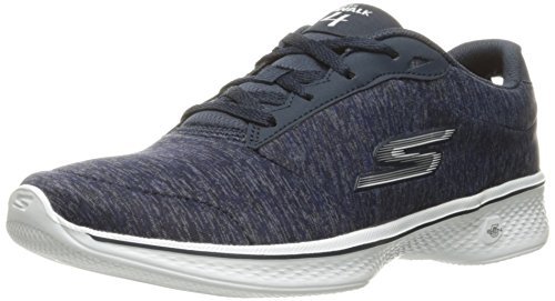 Skechers Damen Go Walk 4 - Glorify Sneakers, Navy/White Heather, 41 EU (Skechers Go Walk Nahtlose)