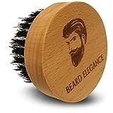 BEARD ELEGANCE Bart-Bürste Rund - Hochwertige Bartbürste Aus Buchenholz Mit Echten Wildschweinborsten - Für Die Perfekte Bart-Pflege
