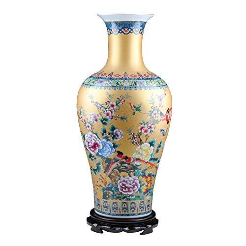 BLWX LY Blumen-und Vogel-Goldener Boden-Keramik-Vase, Inneneinrichtung/Geschenk, 26,3 Zoll hoch, Jingdezhen, China -