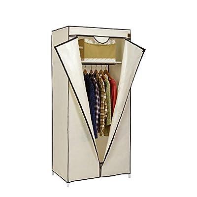 VonHaus Single Canvas Effect Wardrobe Clothes Cupboard Hanging Rail Storage with Shelf - Beige - 75 x 50 x 160cm - low-cost UK wordrobe shop.