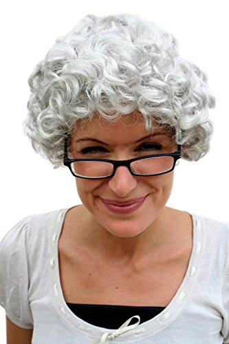 WIG ME UP ® - PW0035-K309 - Peluca Gris, rizos, Abuela, Abuelita, señora Mayor, anciana, señora Mayor