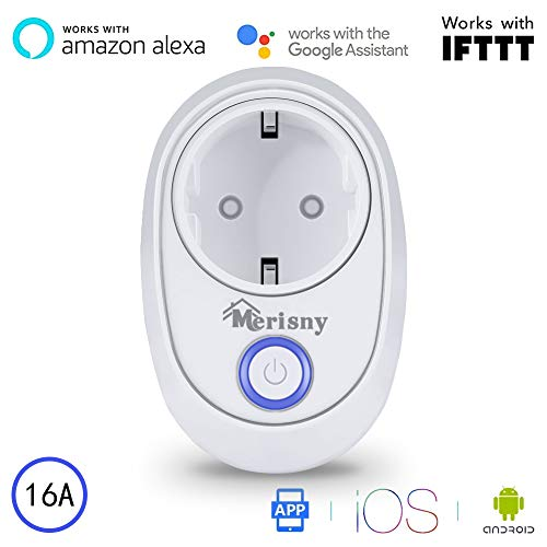 Merisny Presa Intelligente Wifi Smart Plug Funziona con Amazon Alexa (Eco ed Eco Dot), Google Home e IFTTT, nessun Hub richiesto, Controlla i tuoi dispositivi da qualsiasi luogo, per IOS e Android
