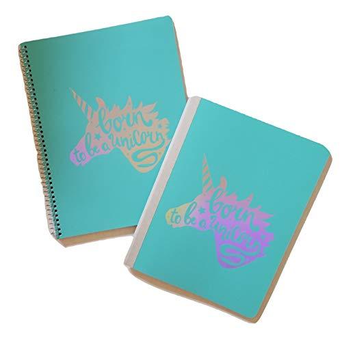 Pen + Gear Born to BE A Unicorn Poly Spiral & Composition Notizbuch Set, breit, liniert, 80 Blatt, Edelsteinfarben Metallic blaugrün