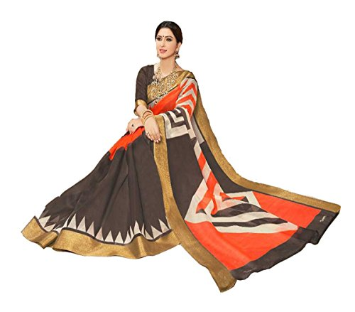 Apple Blossom Organza Silk Saree with blouse latest collection (Brown)