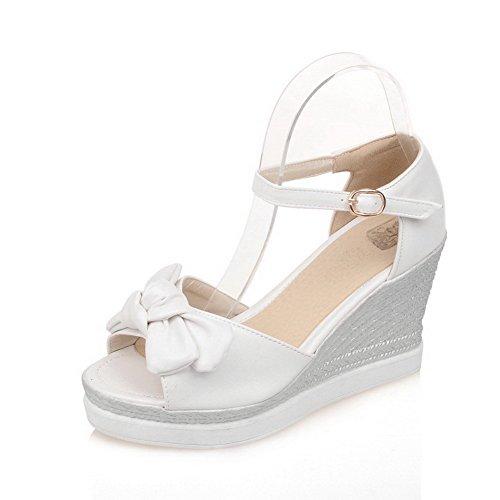 AllhqFashion Damen Offener Zehe Weiches Material Rein Sandalen Weiß