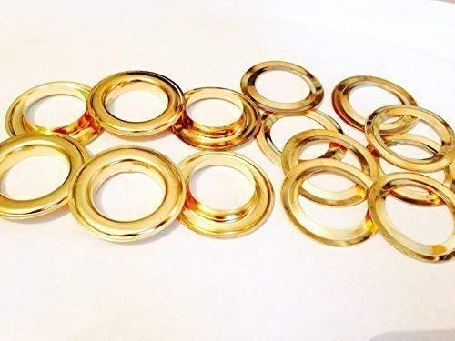 50 X 20mm Gold Ösen mit Scheiben für Banner und Leder - Tüllen für Bänder, Schnürung und Stoff in Kunst und Nähen Projekte für Taschen, Kleidung und Scrapbooking -