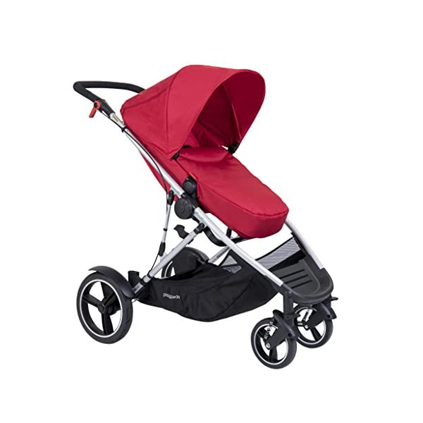"phil&teds Voyager Buggy Pushchair, Red phil&teds 4-in-1 modular seat Modes include parent facing, forward facing, lie flat & lie flat off the buggy 12"" aeromax puncture free wheels 8"