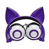 Cartoon Cat Fox Ear Glowing Child Headphones Foldable Flashing Glowing Cat Ear Headphones Gaming Headset Earphone Vida Solitaria