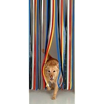 Rideau de porte lani res plastique couleur taupe - Rideau de porte exterieur plastique ...
