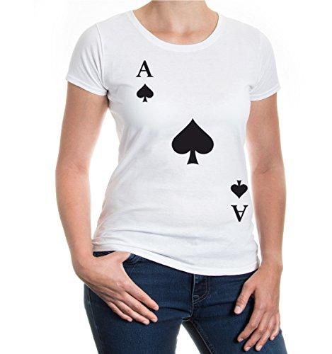 Kostüm Queen Black Und White - buXsbaum® Damen Kurzarm Girlie T-Shirt bedruckt Ass-Karte-Pik | Spielkarte Kostüm Kartenspiel | S white-black Weiß