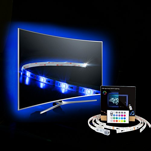 TV Tira LED Iluminación ,4*500mm Impermeable USB 5050 SMD RGB Multicolor Flexible...