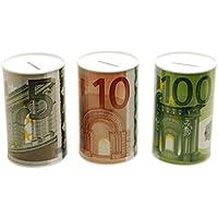 Preisvergleich für 2 er Set Spardose Geldschein Euroschein Metall Sparbüchse Geldschein Sparschwein Euro Sparen