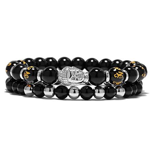 MHOOOA 2 Teile/Satz Charme Perlen Armband Männer Homme Schmuck Schwarz Naturstein Perlen Buddha Kopf Religiöse Energie Armbänder Für Frauen Geschenk