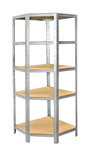 Eckregal-Metall-Schwerlast HOME 200x60x30 cm verzinkt mit 5 Böden - Steckregal für unsere 30...