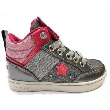 Scarpe bambina Sneakers Lelli Kelly 6404 Gattino & Amici Grigio Gufetto - 33, Pelle + Tela, Grigio