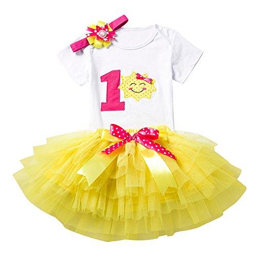 Baby Mädchen 1. 2. Geburtstag Tutu mit Stirnband Set Stück Romper + Rock Tütü + Bowknot Stirnband Geschenk Verkleidung, 12 ()