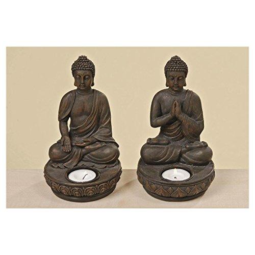 Buddha Teelichthalter im 2er Set je 19 cm - 2