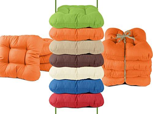 4er-Pack Stuhlkissen - bequeme und universal verwendbar in dezentem Design - Balkon + Garten + Terrasse + Esszimmer - erhältlich in 7 trendigen Uni-Farben, orange