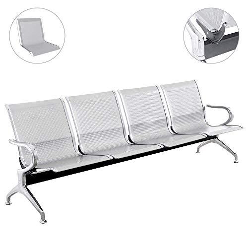 PrimeMatik - Bank für wartezimmer mit 4 ergonomisch stühlen Silber