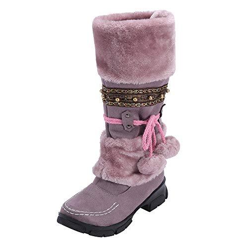 Mymyguoe Frauen Langschaft Stiefeletten Boots Wildleder Hairball Round Toe Square Heel Schuhe Halten warme Slip-On Schnee Stiefel Stylische Warme Kunstpelz Fell Gefüttert Winterstiefel -