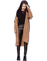 cfca3e42f252c4 MisShow Damen Langer Cardigan Strickjacke Mantel Strickmantel mit Taschen 3  Farben Free Size