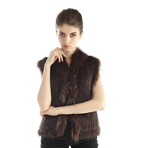 Gilet de Lapin - Mode Femme Gilet Court Gilet Réel Fourrure de Raton Laveur Gilet Café