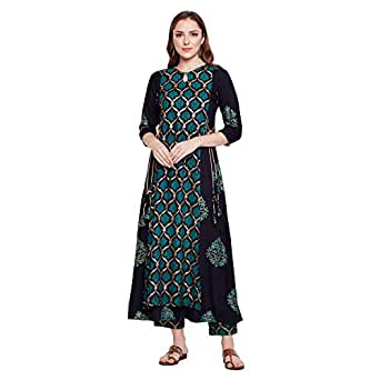 Sanjali Double Layered Gold Printed Anarkali Kurta with Printed Plazzo Kurti for Women's Rayon (Multicolour)