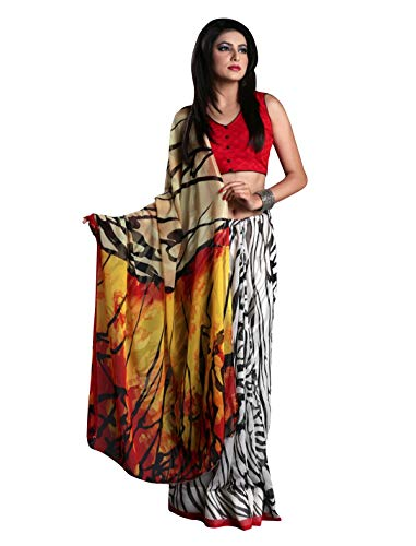 1 Stop Fashion Women\'s Multi Color Georgette Saree With Digital Print & Blouse