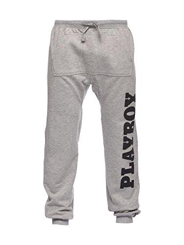 Playboy Herren Hose Pants Print Vertical Logo Grau (Grigio Mel)
