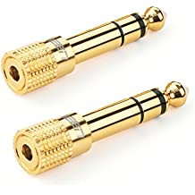 UGREEN Jack 6.35 a 3.5 Connetori Stereo 6.35mm Maschio a 3.5mm Femmina, Spina 6,35 mm M to 3,5 mm F Audio Adattatore, Placcato oro, 2 Pack
