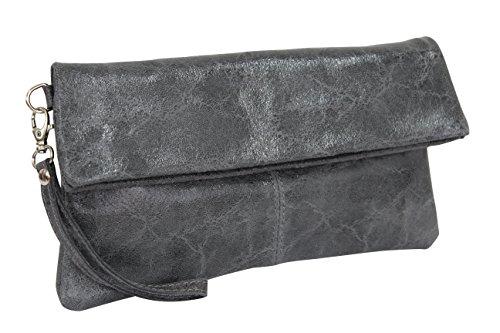AMBRA Moda Damen Leder Clutch Handtasche Glattleder Tasche Handschlaufe WL821 Anthrazit