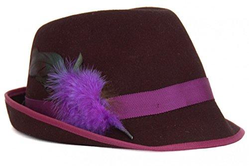 Trachtenhut in schwarz/lila von Faustmann, Hutgröße:57;Farbe:Schwarz