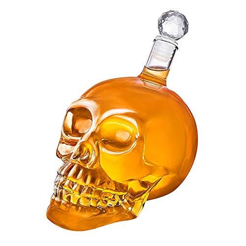 Tofree 350 ml Totenkopf-Vodka Weinflasche Kreative Totenkopf-Dekanter Glas Karaffe für Wodka,...