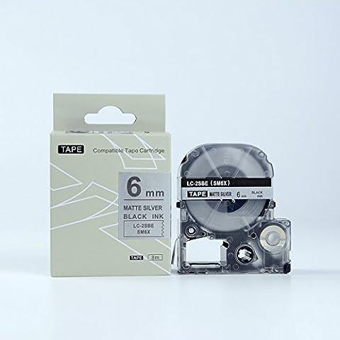 Compatibile con Epson LC-2SBE etichetta nastro nero su argento 6mm 8m (6 Mm Opaco)