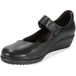 TUPIE. Zapato Comodón Cuña 4 CM y Velcro para Mujer - Modelo 805, Color Negro, Talla 39