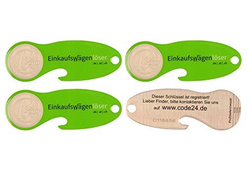 Code24 Einkaufswagenlöser Münze, Flaschenöffner als Schlüsselanhänger mit Einkaufschip & Schlüsselfinder, inkl. Registriercode für Schlüsselfundservice, Einkaufswagenchips, Key-Finder, grün, 4er Set