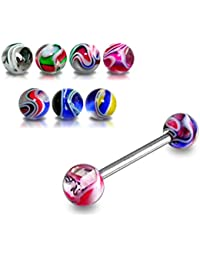 Anneaux Piercing pour Langue Barbell droit en acier chirurgical 316L avec Boule UV Marbre multi couleurs Lot de 10 pièces couleurs assorties