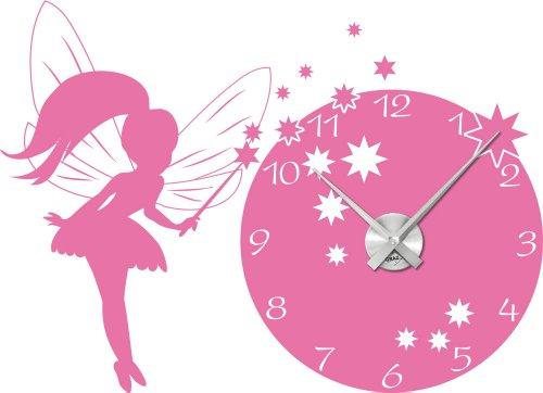 Wandtattoo Uhr Wanduhr mit Uhrwerk Kinderzimmer Prinzessin Fee (Uhr Silber gebürstet //045 hellrosa)