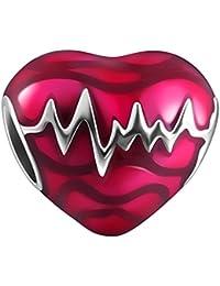 Soufeel Damen Bead Herzschlag Charm rosa 925 Sterling Silber