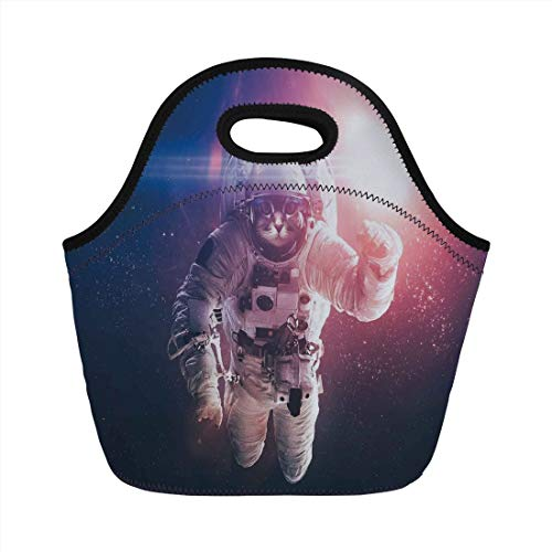Jieaiuoo Portable Lunch Bag,Space Cat,Flying Cat Without Gravity with Clusters Planet Eclipse Image,White Purple and Dark Blue,for Kids Adult Thermal Insulated Tote Bags