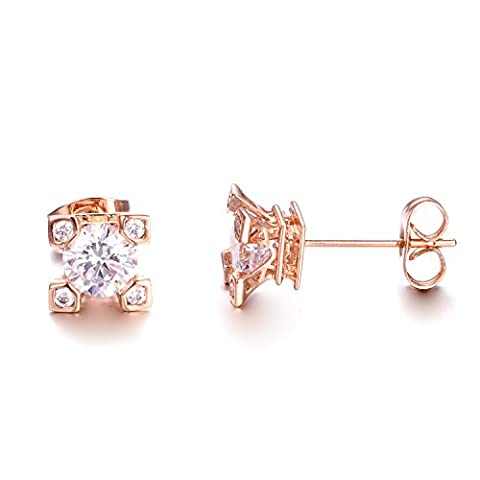 Yoursfs Unique Tiny Solitaire Stud Earrings for Women Square Four-prong