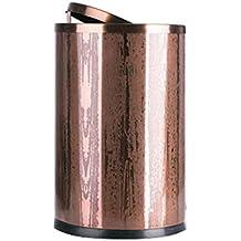 Wghfwx Tapa de Columpio de Acero Inoxidable Cubo de Basura Resina de Metal Giratorio Redondo,