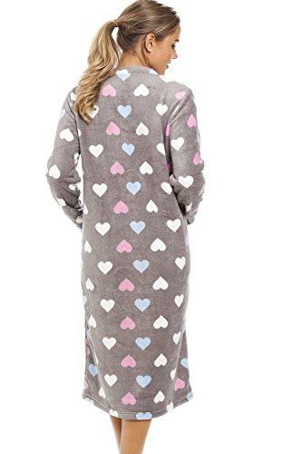 Camille - Chemise de nuit très douce - femme - motif cœurs multicolores - gris Gris