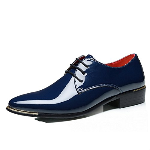 Men's Soft Patent Leather Pointed Toe Formal Shoes blue
