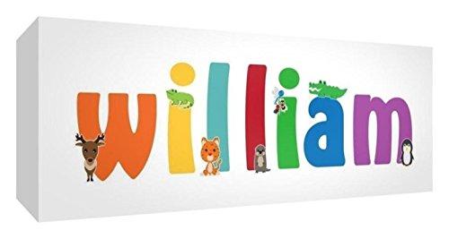 Little Helper Leinwand Box Galerie verpackt mit farbigem Front Panel illustrativen Stil mit dem Namen de jeune Jungen William 30x 84x 3cm groß