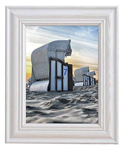 Mein Landhaus Vintage Bilder-Rahmen Stockholm im Shabby Chic Design   Holz-Rahmen in Weiß mit Plexiglas (40x60cm)