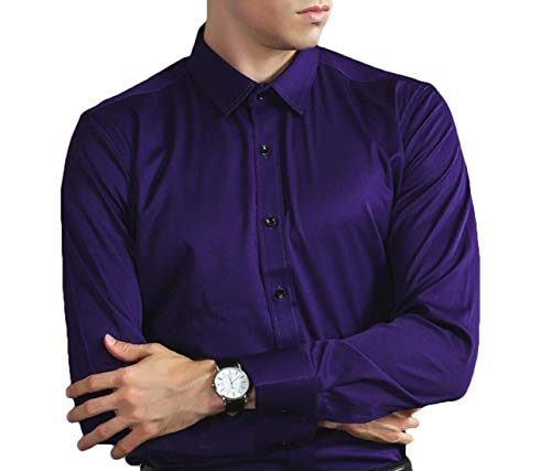 Shuangrun Mens Blouse Loose Long Sleeve Satin Silk Dress Shirt Tops - £16.57 af7e408d7