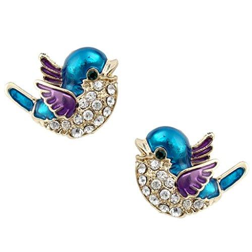Ever Faith Carino Bluebird perno Earringss austriaco Cristallo Blue w / viola dello smalto A01177-5 - 5 Orecchini Di Pietra