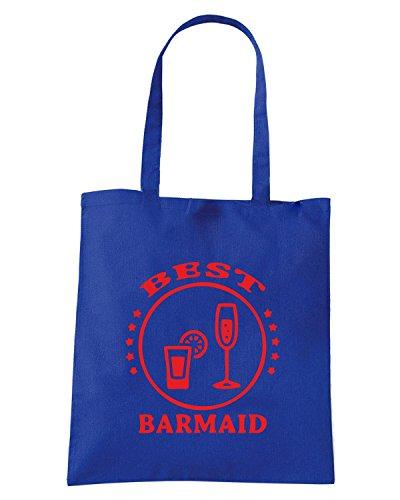 T-Shirtshock - Borsa Shopping BEER0186 Best-Barmaid-Magliette Blu Royal