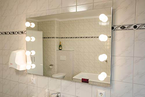 MySpiegel.de LED Schminktisch Spiegel mit Beleuchtung Hollywood Spiegel Theaterspiegel Kosmetikspiegel Wandspiegel Lichtspiegel Chim